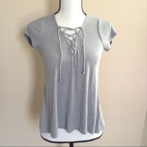AEO Lace Up Ribbed T Shirt